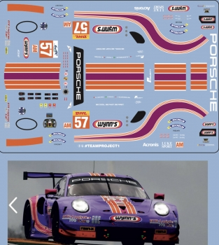 Decal Porsche 911 991 RSR Wynn's #57 2020 scale 1/32