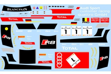 Decal Audi R8 GT #1 Customer Racing Spa 2014 Winning