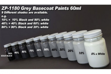 Grey Basecoat Paint Range - Colour Shade 90% Black 60ml